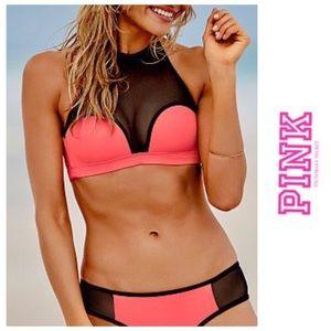 PINK Victoria's Secret Mesh High Neck Bikini Top